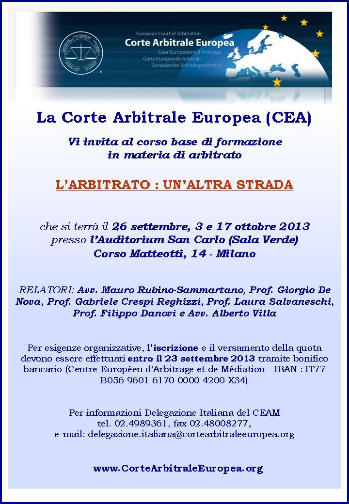 Locandina Corso Base di Arbitrato Milano