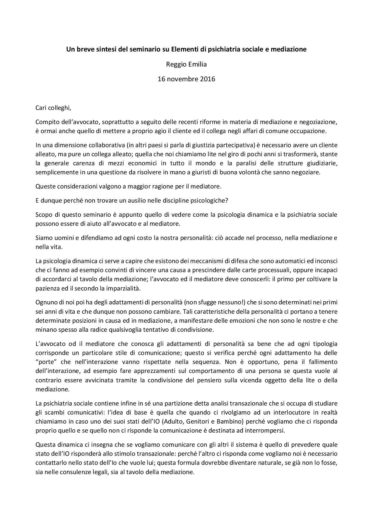 Mediazione e discipline psicologiche un seminario a Reggio Emilia tieniinmanolaluce